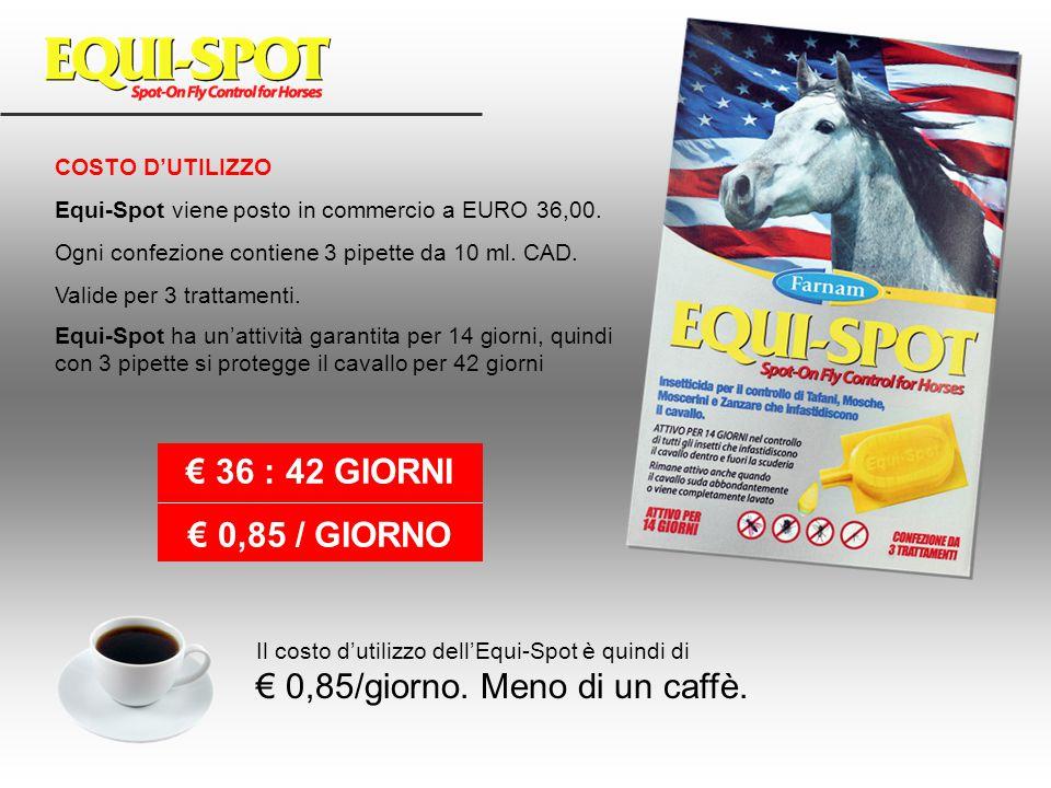 COSTO D'UTILIZZO Equi-Spot viene posto in commercio a EURO 36,00. Ogni confezione contiene 3 pipette da 10 ml. CAD. Valide per 3 trattamenti. Equi-Spo