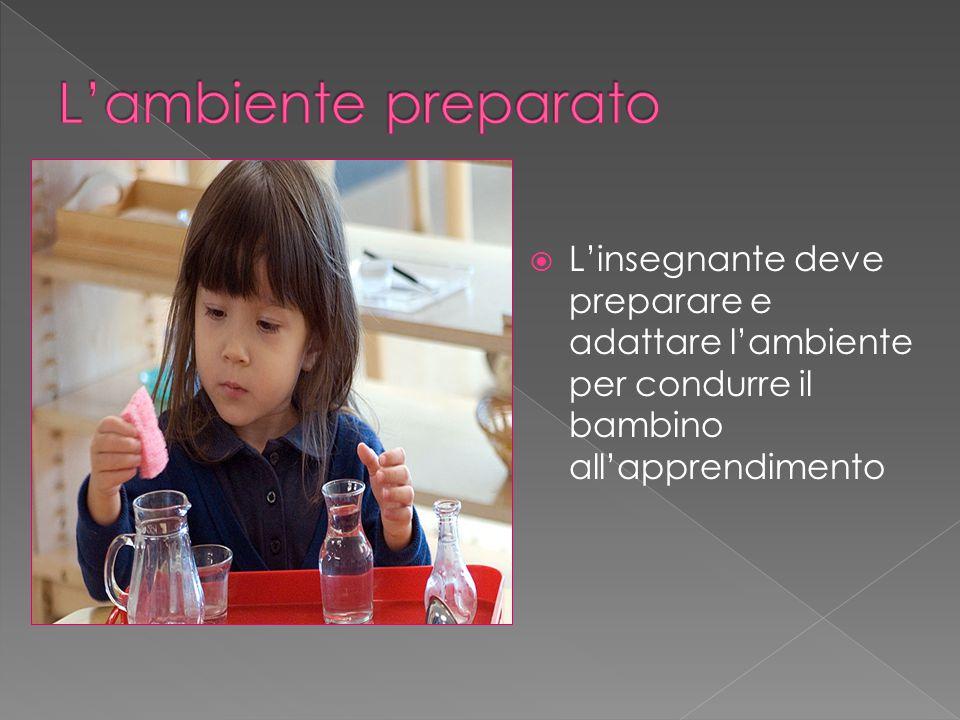  L'insegnante deve preparare e adattare l'ambiente per condurre il bambino all'apprendimento