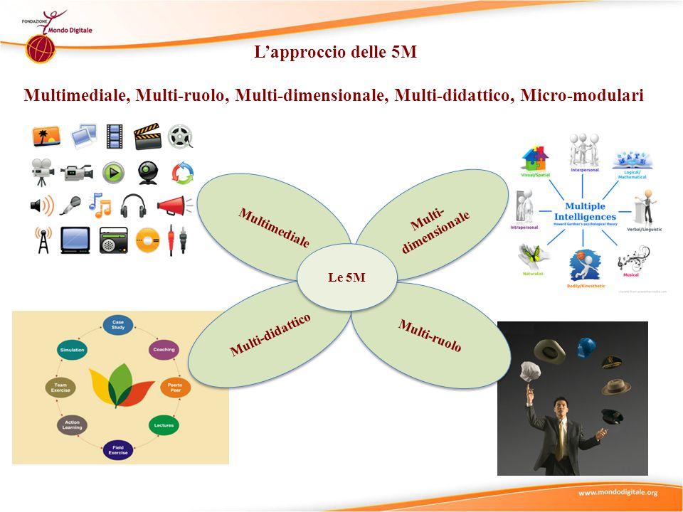 L'approccio delle 5M Multimediale, Multi-ruolo, Multi-dimensionale, Multi-didattico, Micro-modulari Multi- dimensionale Multimediale Multi-didattico Multi-ruolo Le 5M