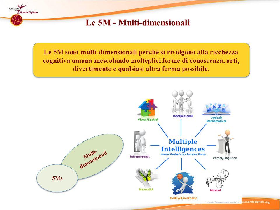 Le 5M - Multi-dimensionali Le 5M sono multi-dimensionali perché si rivolgono alla ricchezza cognitiva umana mescolando molteplici forme di conoscenza, arti, divertimento e qualsiasi altra forma possibile.