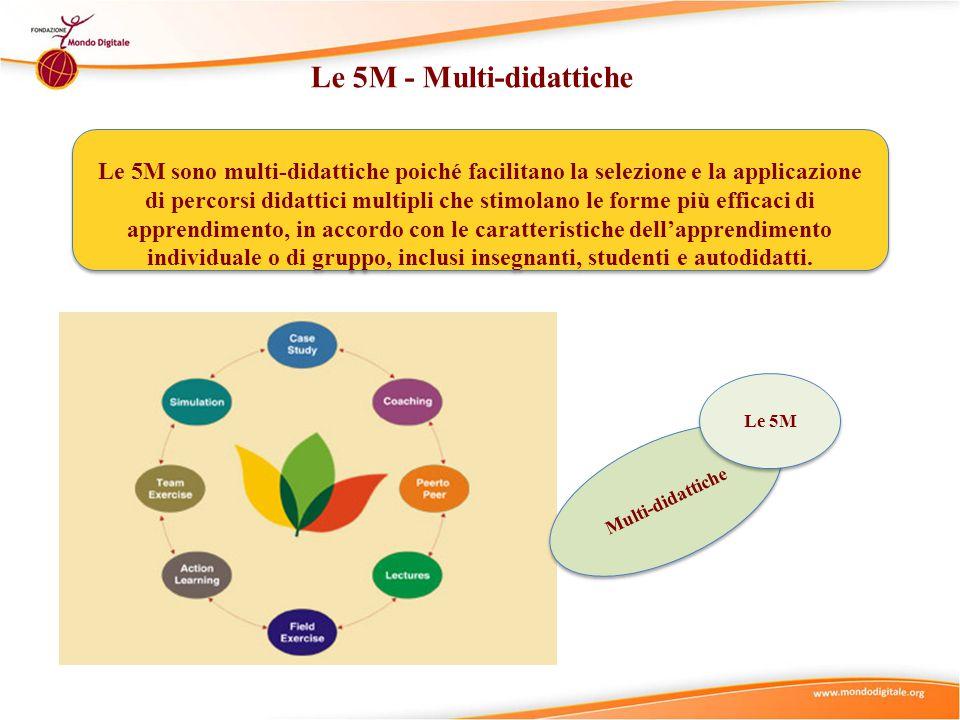 Le 5M - Multi-didattiche Le 5M sono multi-didattiche poiché facilitano la selezione e la applicazione di percorsi didattici multipli che stimolano le forme più efficaci di apprendimento, in accordo con le caratteristiche dell'apprendimento individuale o di gruppo, inclusi insegnanti, studenti e autodidatti.