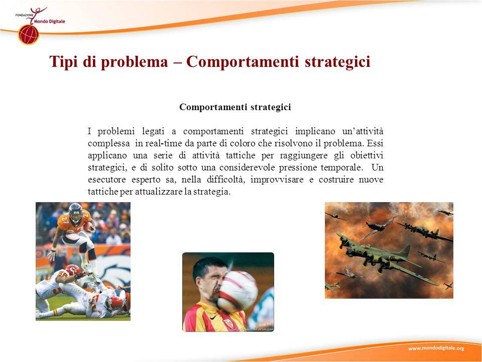 Comportamenti strategici I problemi legati a comportamenti strategici implicano un'attività complessa in real-time da parte di coloro che risolvono il problema.