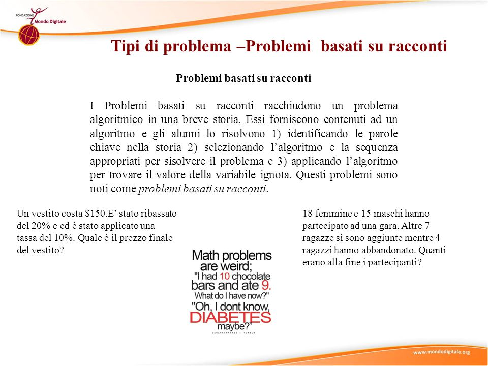 Tipi di problema –Problemi basati su racconti Problemi basati su racconti I Problemi basati su racconti racchiudono un problema algoritmico in una breve storia.