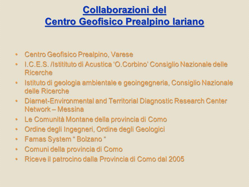 Collaborazioni del Centro Geofisico Prealpino lariano Centro Geofisico Prealpino, VareseCentro Geofisico Prealpino, Varese I.C.E.S.