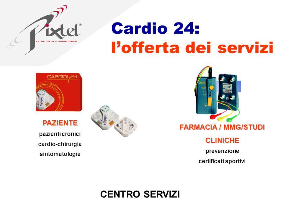 PAZIENTE pazienti cronici cardio-chirurgia sintomatologie FARMACIA / MMG/STUDI CLINICHE prevenzione certificati sportivi CENTRO SERVIZI Cardio 24: l'offerta dei servizi