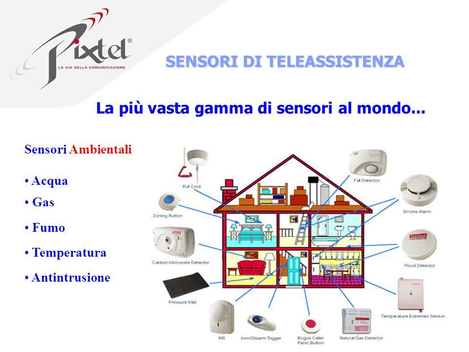 7 SENSORI DI TELEASSISTENZA Sensori Ambientali Acqua Gas Fumo Temperatura Antintrusione La più vasta gamma di sensori al mondo...