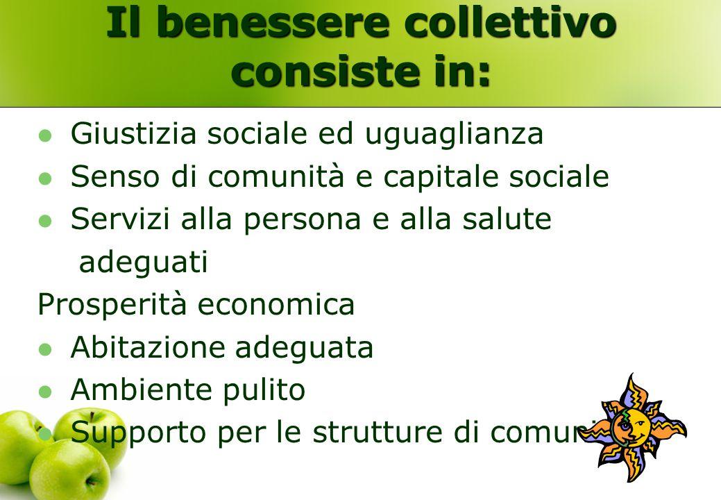 Il benessere collettivo consiste in: Giustizia sociale ed uguaglianza Senso di comunità e capitale sociale Servizi alla persona e alla salute adeguati