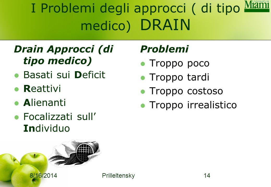8/16/2014 Prilleltensky14 I Problemi degli approcci ( di tipo medico) DRAIN Drain Approcci (di tipo medico) Basati sui Deficit Reattivi Alienanti Foca