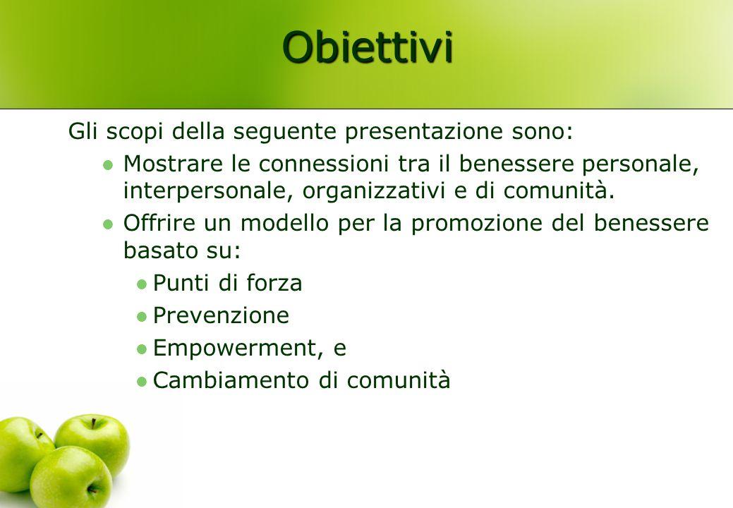 Obiettivi Gli scopi della seguente presentazione sono: Mostrare le connessioni tra il benessere personale, interpersonale, organizzativi e di comunità