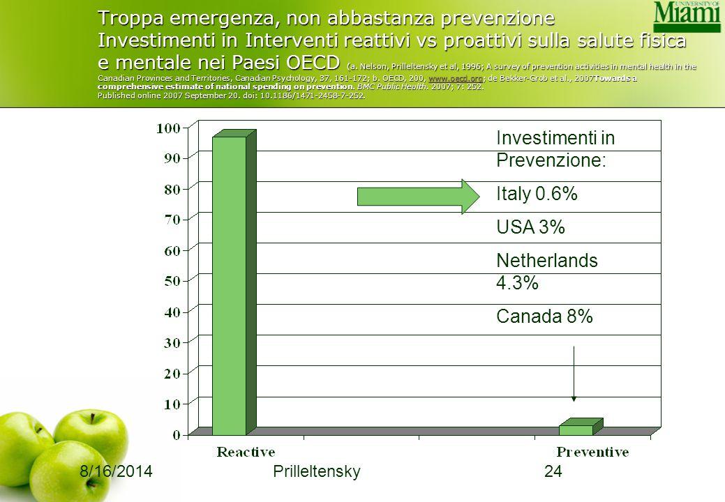 8/16/2014 Prilleltensky24 Troppa emergenza, non abbastanza prevenzione Investimenti in Interventi reattivi vs proattivi sulla salute fisica e mentale