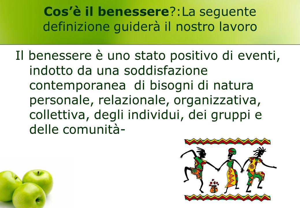 Cos'è il benessere?:La seguente definizione guiderà il nostro lavoro Il benessere è uno stato positivo di eventi, indotto da una soddisfazione contemp