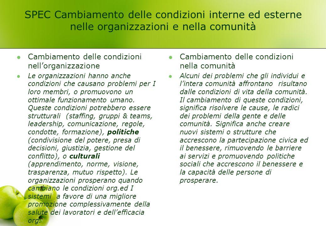 SPEC Cambiamento delle condizioni interne ed esterne nelle organizzazioni e nella comunità Cambiamento delle condizioni nell'organizzazione Le organiz