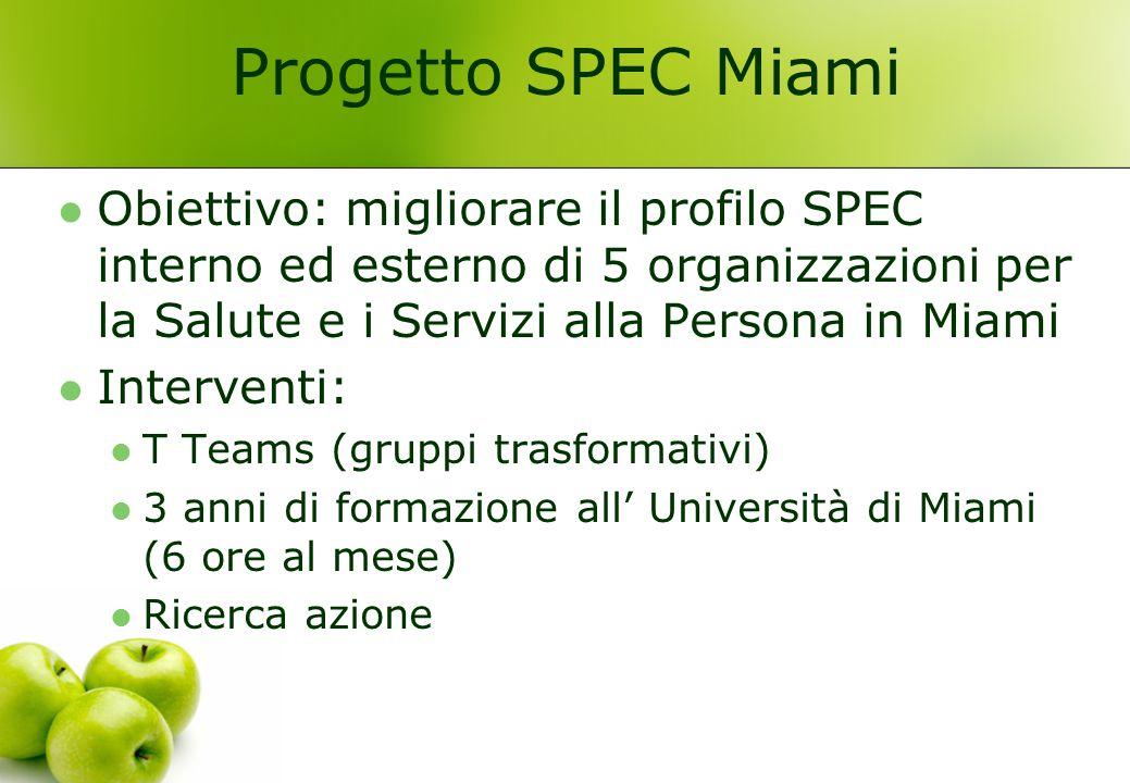 Progetto SPEC Miami Obiettivo: migliorare il profilo SPEC interno ed esterno di 5 organizzazioni per la Salute e i Servizi alla Persona in Miami Inter