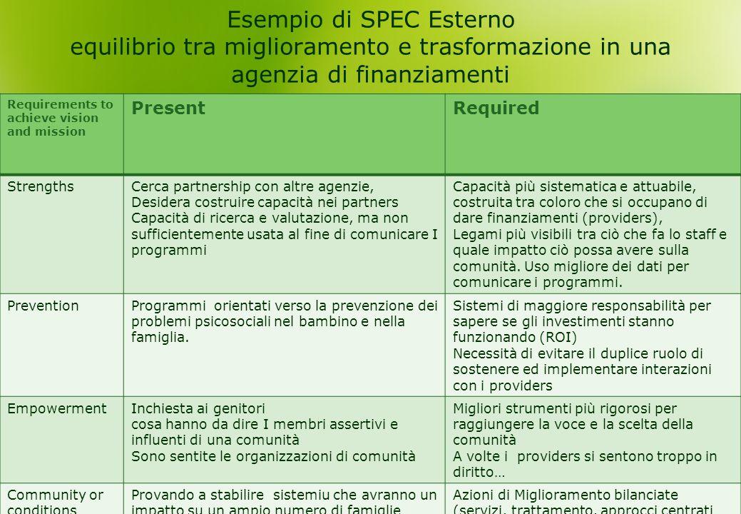 Esempio di SPEC Esterno equilibrio tra miglioramento e trasformazione in una agenzia di finanziamenti Requirements to achieve vision and mission Prese