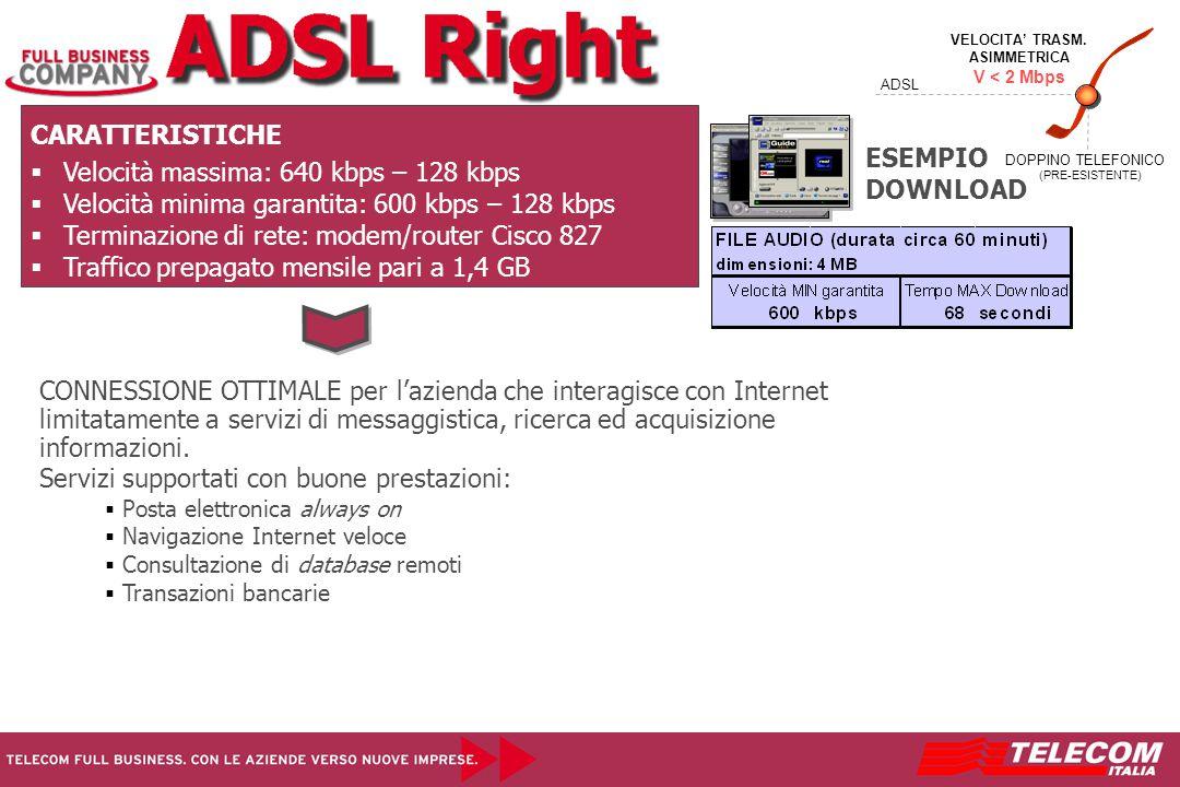 CARATTERISTICHE   Velocità massima: 640 kbps – 128 kbps   Velocità minima garantita: 600 kbps – 128 kbps   Terminazione di rete: modem/router Cisco 827   Traffico prepagato mensile pari a 1,4 GB CONNESSIONE OTTIMALE per l'azienda che interagisce con Internet limitatamente a servizi di messaggistica, ricerca ed acquisizione informazioni.