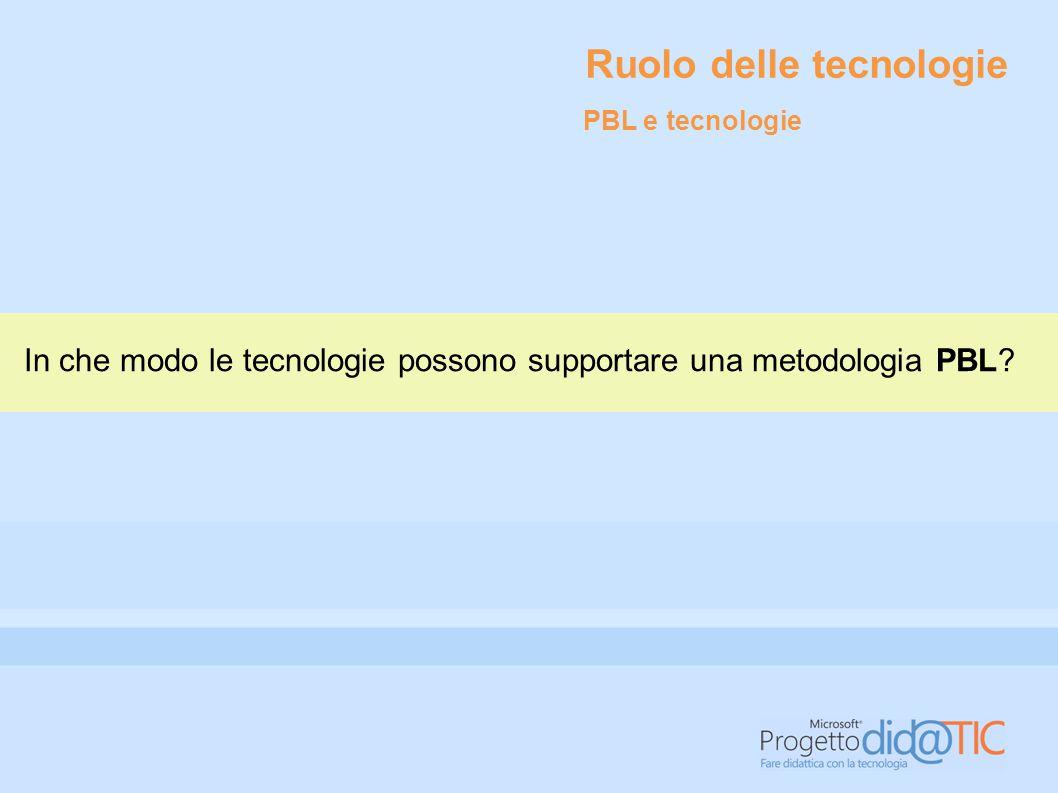 Ruolo delle tecnologie In che modo le tecnologie possono supportare una metodologia PBL? PBL e tecnologie