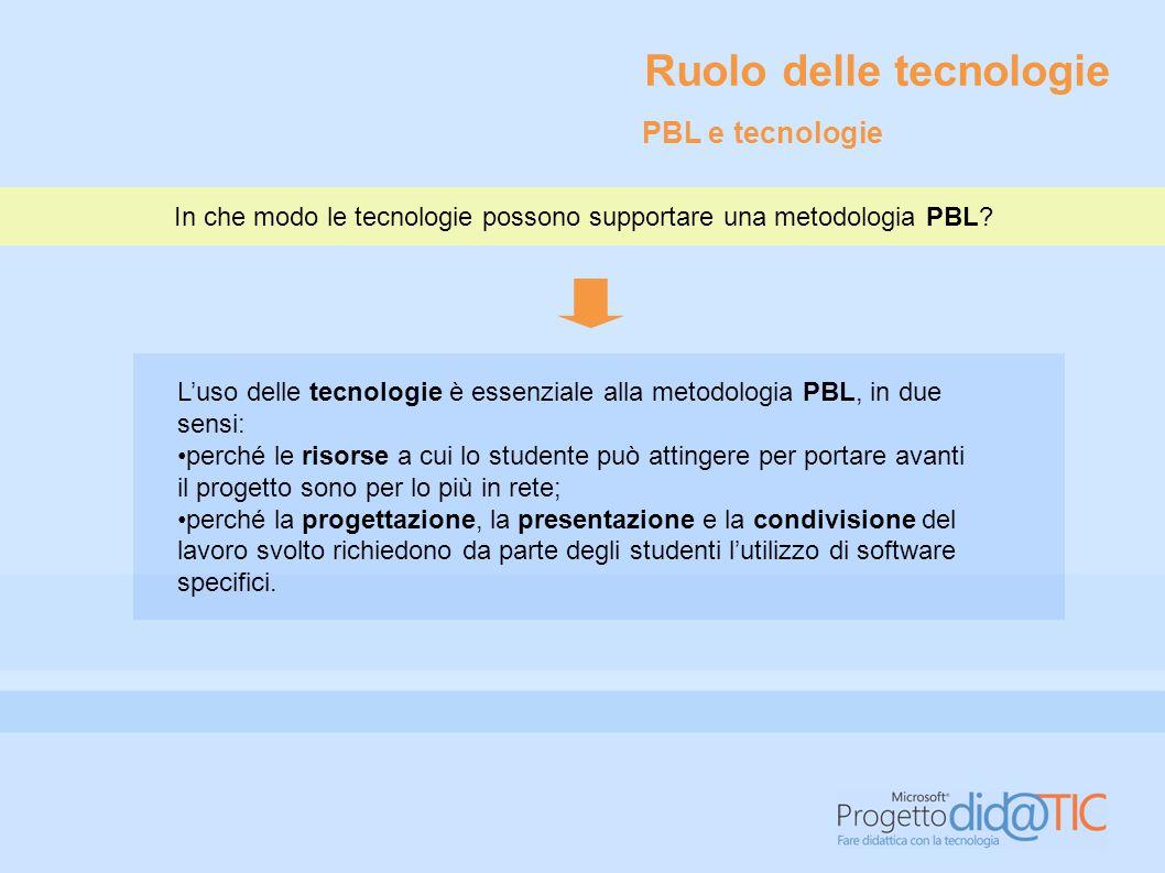 L'uso delle tecnologie è essenziale alla metodologia PBL, in due sensi: perché le risorse a cui lo studente può attingere per portare avanti il proget