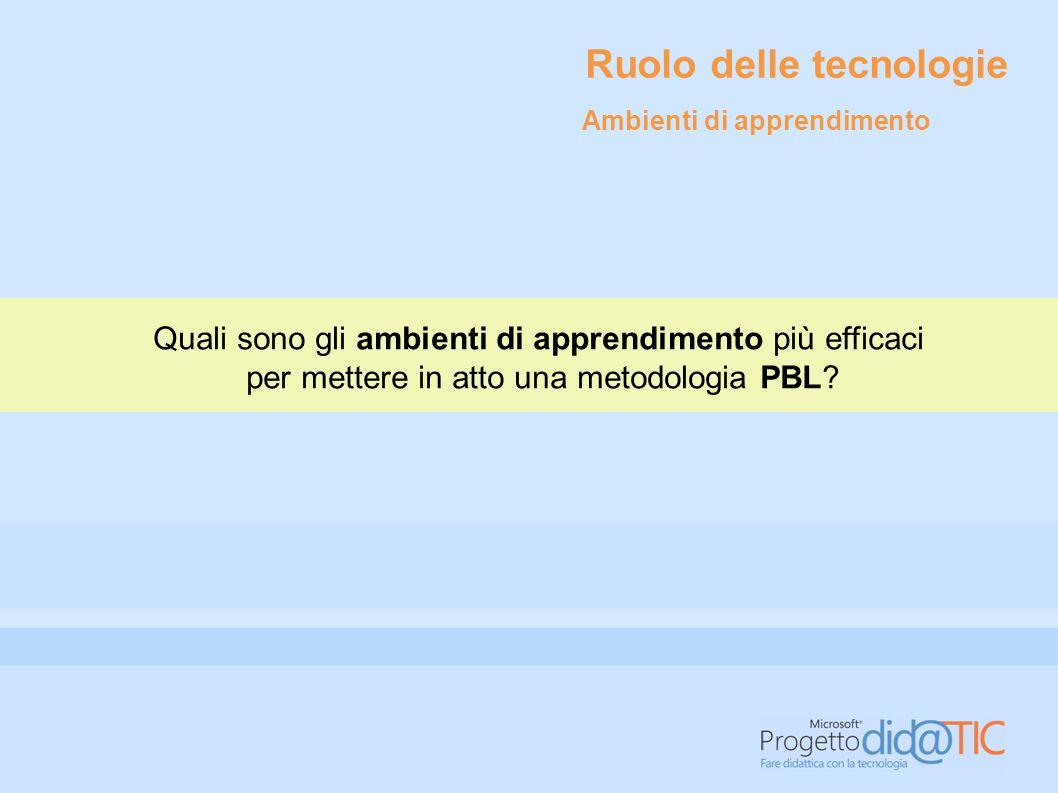 Quali sono gli ambienti di apprendimento più efficaci per mettere in atto una metodologia PBL? Ruolo delle tecnologie Ambienti di apprendimento