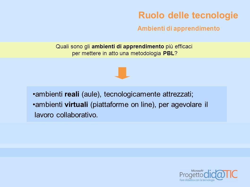 ambienti reali (aule), tecnologicamente attrezzati; ambienti virtuali (piattaforme on line), per agevolare il lavoro collaborativo. Quali sono gli amb