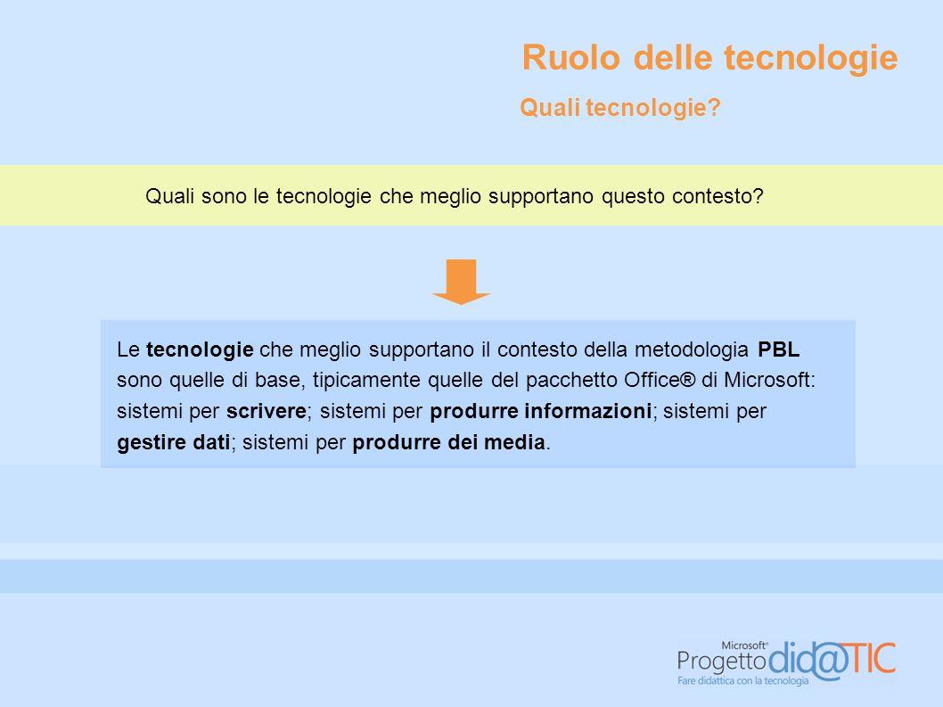 Le tecnologie che meglio supportano il contesto della metodologia PBL sono quelle di base, tipicamente quelle del pacchetto Office® di Microsoft: sist