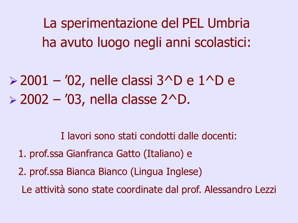 La sperimentazione del PEL Umbria ha avuto luogo negli anni scolastici:   2001 – '02, nelle classi 3^D e 1^D e   2002 – '03, nella classe 2^D.