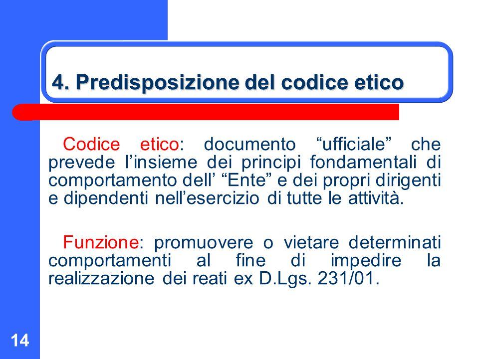 """14 4. Predisposizione del codice etico Codice etico: documento """"ufficiale"""" che prevede l'insieme dei principi fondamentali di comportamento dell' """"Ent"""