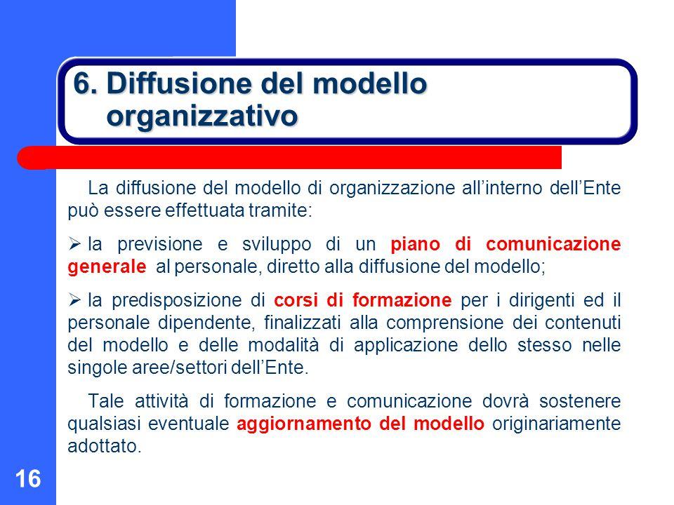 16 6. Diffusione del modello organizzativo La diffusione del modello di organizzazione all'interno dell'Ente può essere effettuata tramite:  la previ