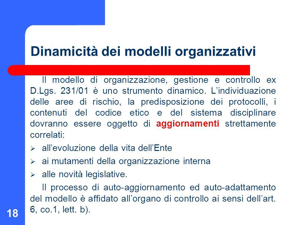 18 Dinamicità dei modelli organizzativi Il modello di organizzazione, gestione e controllo ex D.Lgs. 231/01 è uno strumento dinamico. L'individuazione