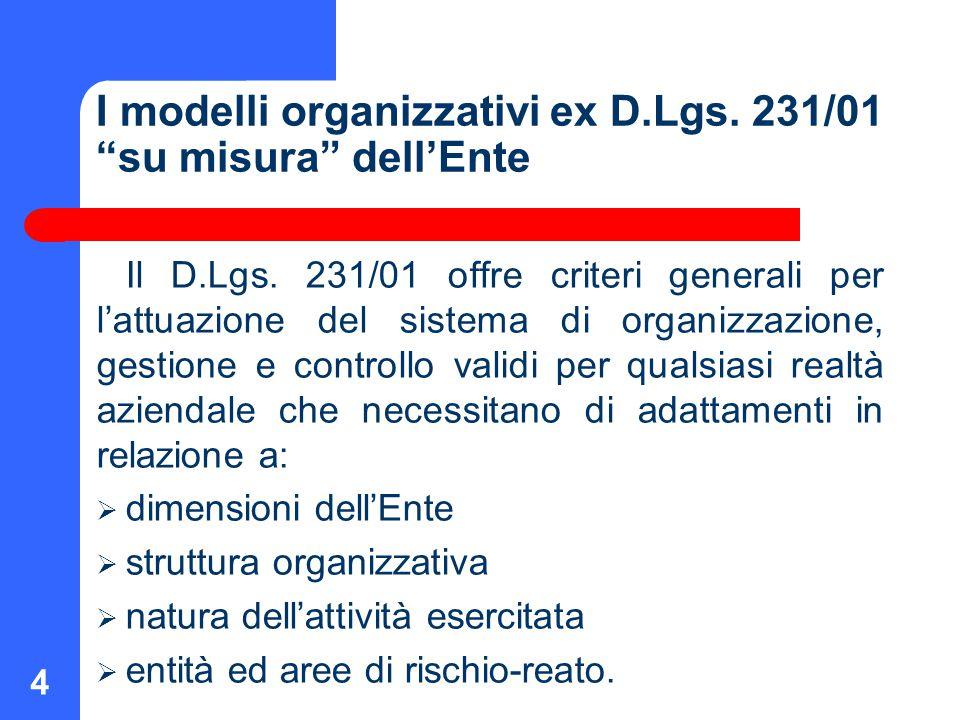 """4 I modelli organizzativi ex D.Lgs. 231/01 """"su misura"""" dell'Ente Il D.Lgs. 231/01 offre criteri generali per l'attuazione del sistema di organizzazion"""