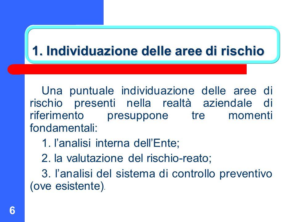 6 1. Individuazione delle aree di rischio Una puntuale individuazione delle aree di rischio presenti nella realtà aziendale di riferimento presuppone