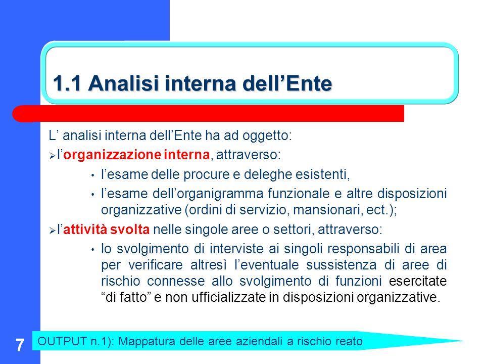 7 1.1 Analisi interna dell'Ente L' analisi interna dell'Ente ha ad oggetto:  l'organizzazione interna, attraverso: l'esame delle procure e deleghe es