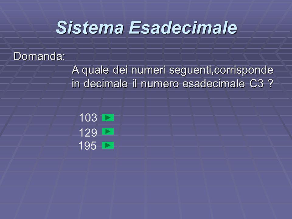Sistema Esadecimale Domanda: A quale dei numeri seguenti,corrisponde in decimale il numero esadecimale C3 ? 103 129 195