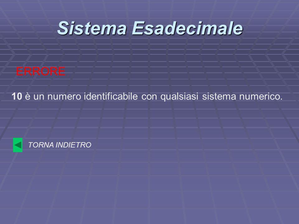 Sistema Esadecimale 10 è un numero identificabile con qualsiasi sistema numerico. ERRORE TORNA INDIETRO