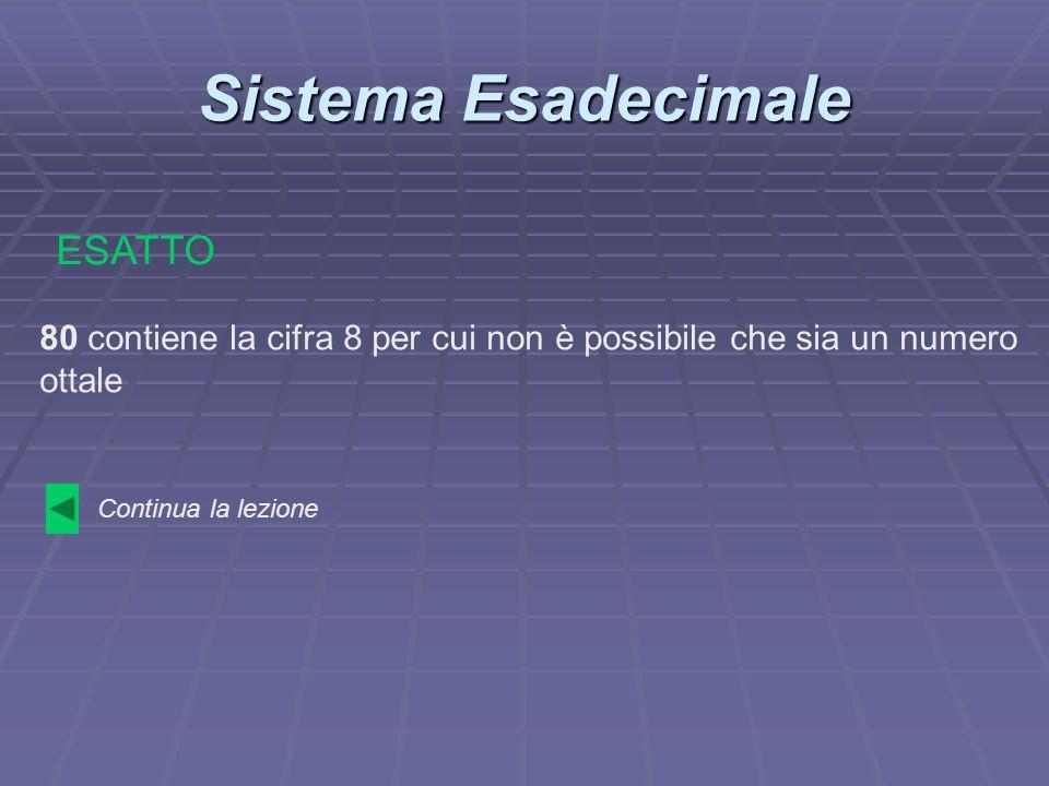 Sistema Esadecimale 80 contiene la cifra 8 per cui non è possibile che sia un numero ottale ESATTO Continua la lezione