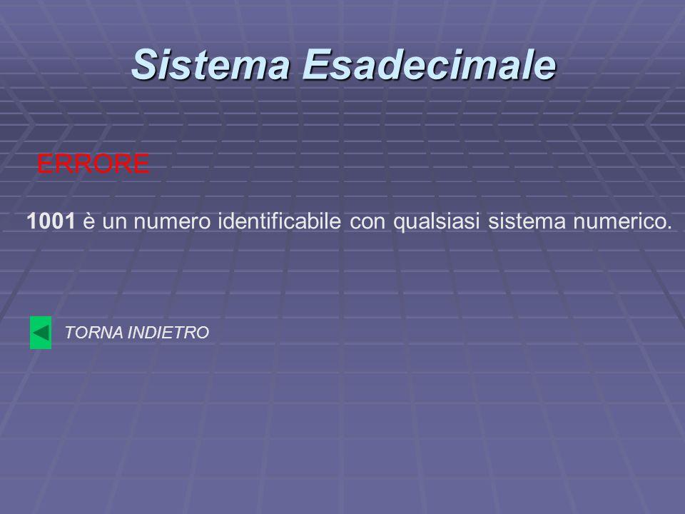 Sistema Esadecimale 1001 è un numero identificabile con qualsiasi sistema numerico. ERRORE TORNA INDIETRO