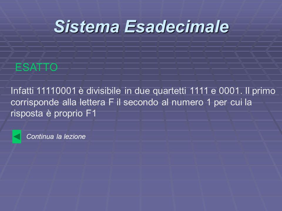 Sistema Esadecimale Infatti 11110001 è divisibile in due quartetti 1111 e 0001. Il primo corrisponde alla lettera F il secondo al numero 1 per cui la