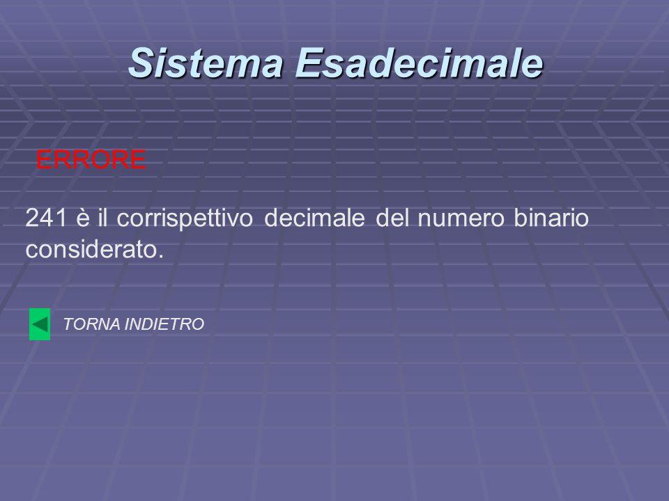 Sistema Esadecimale 241 è il corrispettivo decimale del numero binario considerato. ERRORE TORNA INDIETRO