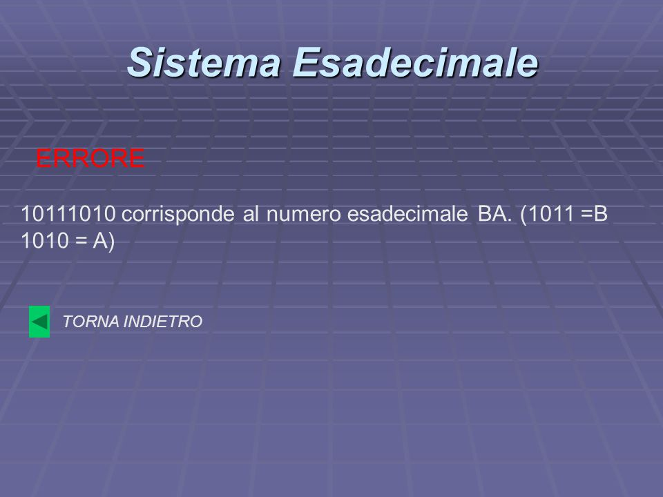 Sistema Esadecimale ERRORE TORNA INDIETRO 10111010 corrisponde al numero esadecimale BA. (1011 =B 1010 = A)