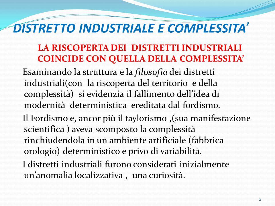 DISTRETTO INDUSTRIALE E COMPLESSITA ' LA RISCOPERTA DEI DISTRETTI INDUSTRIALI COINCIDE CON QUELLA DELLA COMPLESSITA' Esaminando la struttura e la filosofia dei distretti industriali(con la riscoperta del territorio e della complessità) si evidenzia il fallimento dell'idea di modernità deterministica ereditata dal fordismo.