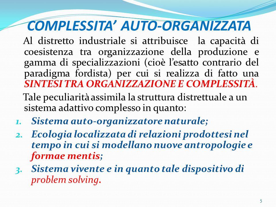 COMPLESSITA' AUTO-ORGANIZZATA Al distretto industriale si attribuisce la capacità di coesistenza tra organizzazione della produzione e gamma di specializzazioni (cioè l'esatto contrario del paradigma fordista) per cui si realizza di fatto una SINTESI TRA ORGANIZZAZIONE E COMPLESSITÀ.