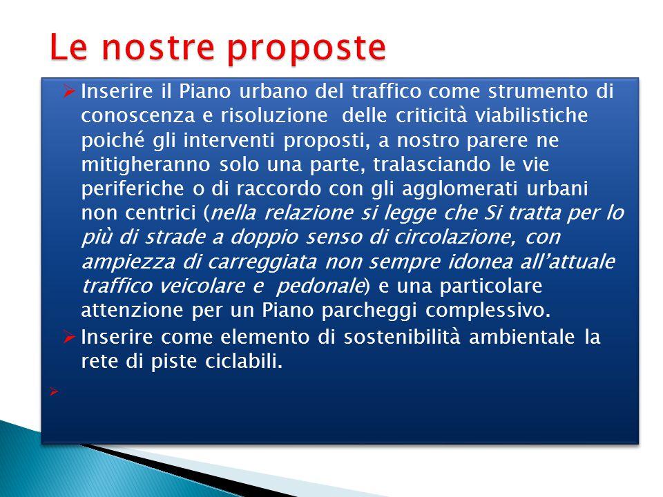 Le nostre proposte  Inserire il Piano urbano del traffico come strumento di conoscenza e risoluzione delle criticità viabilistiche poiché gli interve