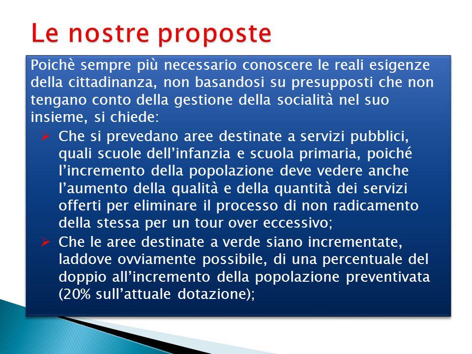 Le nostre proposte Poichè sempre più necessario conoscere le reali esigenze della cittadinanza, non basandosi su presupposti che non tengano conto del