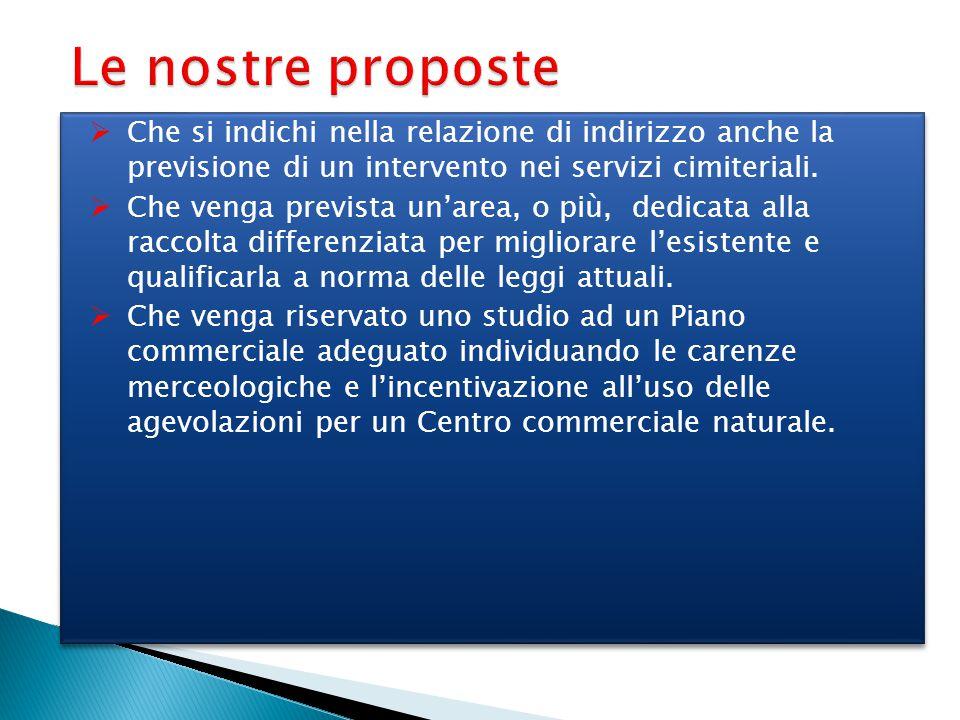 Le nostre proposte  Che si indichi nella relazione di indirizzo anche la previsione di un intervento nei servizi cimiteriali.  Che venga prevista un