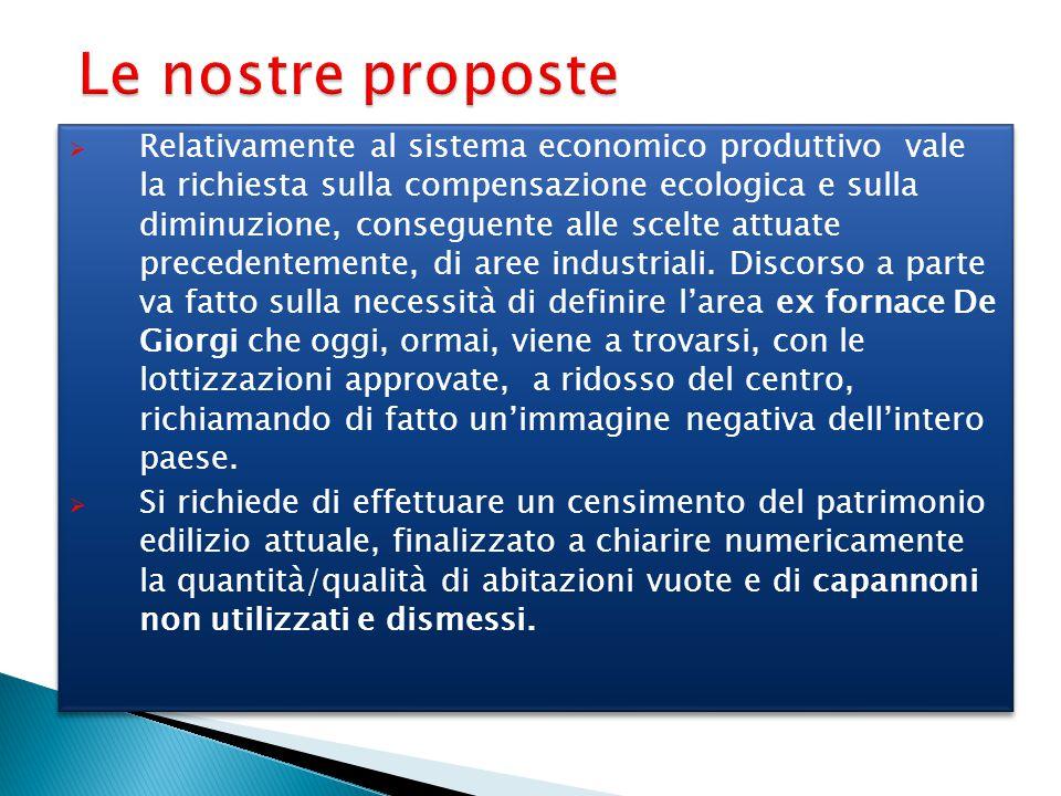 Le nostre proposte  Relativamente al sistema economico produttivo vale la richiesta sulla compensazione ecologica e sulla diminuzione, conseguente al