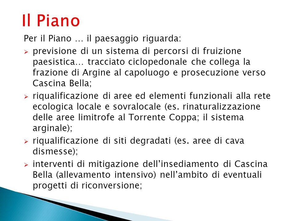 Il Piano Per il Piano … il paesaggio riguarda:  previsione di un sistema di percorsi di fruizione paesistica… tracciato ciclopedonale che collega la