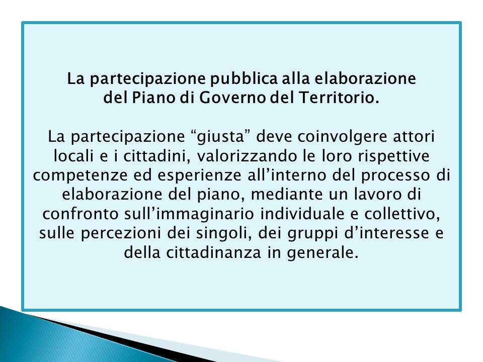 """La partecipazione pubblica alla elaborazione del Piano di Governo del Territorio. La partecipazione """"giusta"""" deve coinvolgere attori locali e i cittad"""