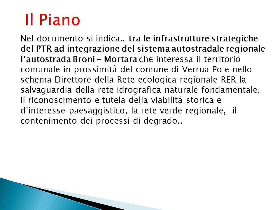 Il Piano Nel documento si indica.. tra le infrastrutture strategiche del PTR ad integrazione del sistema autostradale regionale l'autostrada Broni – M