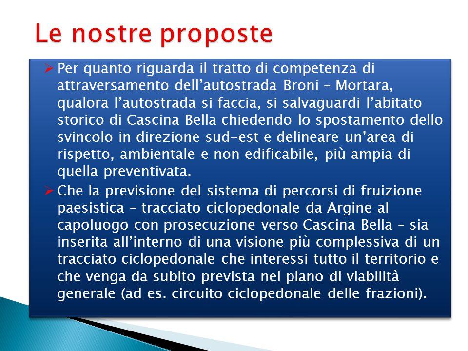 Le nostre proposte  Per quanto riguarda il tratto di competenza di attraversamento dell'autostrada Broni – Mortara, qualora l'autostrada si faccia, s