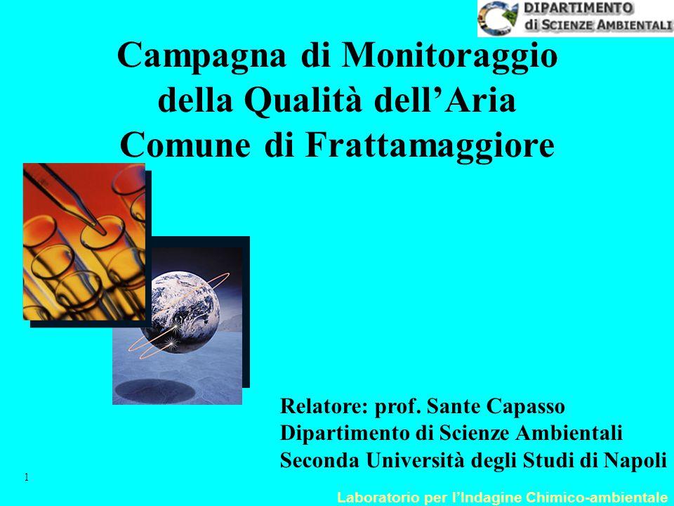 Laboratorio per l'Indagine Chimico-ambientale 1 Campagna di Monitoraggio della Qualità dell'Aria Comune di Frattamaggiore Relatore: prof. Sante Capass