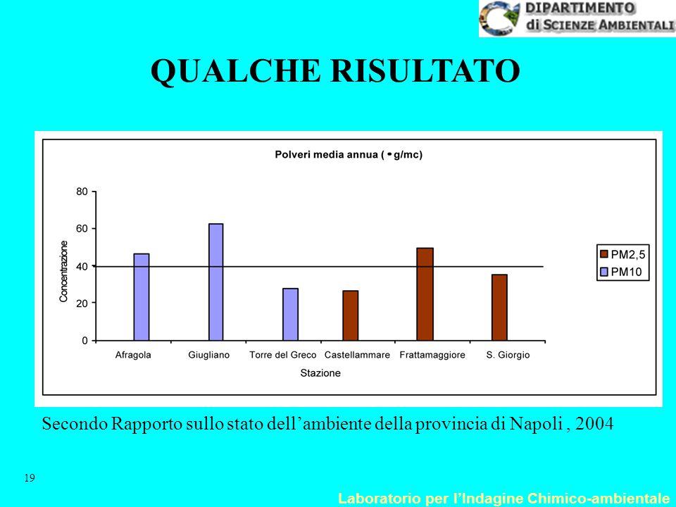 Laboratorio per l'Indagine Chimico-ambientale 19 Secondo Rapporto sullo stato dell'ambiente della provincia di Napoli, 2004 QUALCHE RISULTATO